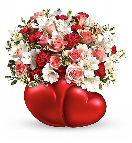 Twin Hearts Bouquet: Flower Bouquets - Two hearts coming