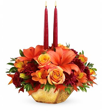 Flower Delivery Miami on Fallen Leaves Golden Centerpiece  Flower Bouquets   A Rustic  Colorful