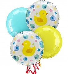Balloons: New Baby Balloon Bouquet-4 Mylar