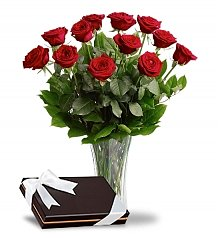 Flower Bouquets: Dozen Red Roses with Box of Chocolates