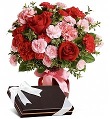 Flower Bouquets: Dancing Red Roses Bouquet with Box of Chocolates